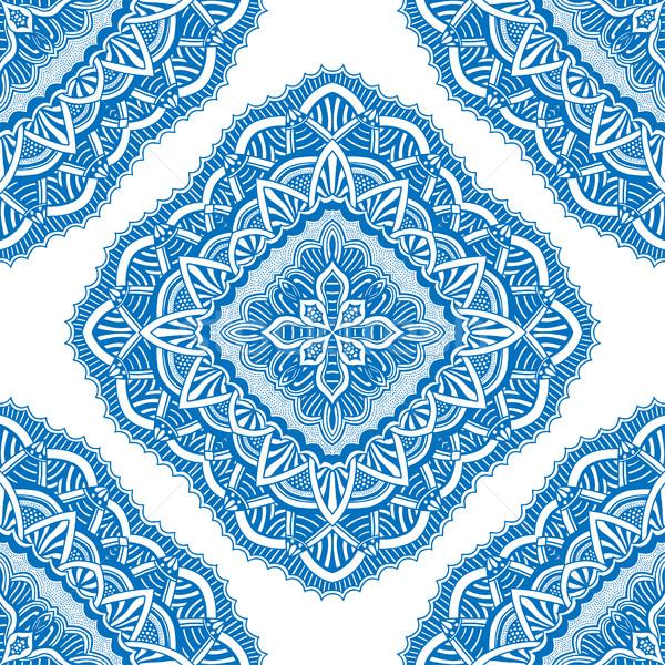 Sem costura floral padrão azul Foto stock © frescomovie