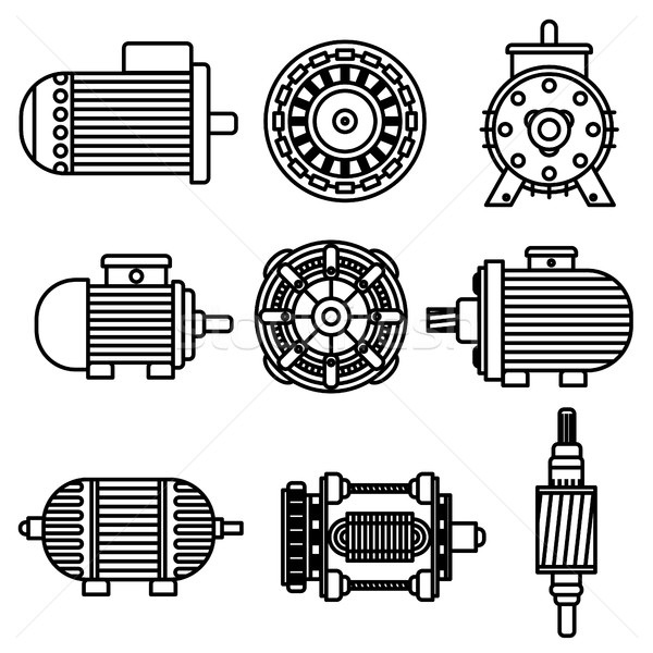 Electric motor vector icons Stock photo © frescomovie