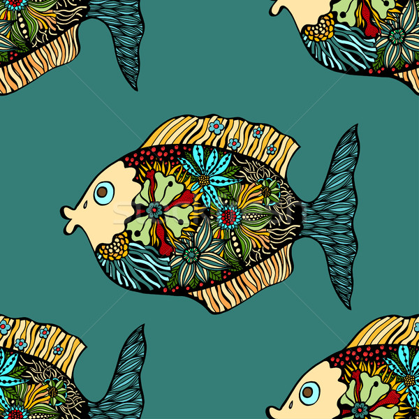 Stock photo: Vector seamless pattern with fishes