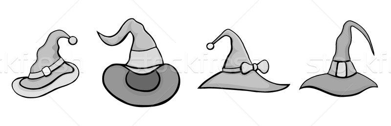 Ingesteld halloween hoeden monochroom vector cartoon Stockfoto © frescomovie