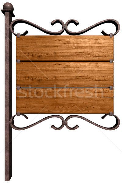 Stock photo: Old wooden signboard. Isolated on white