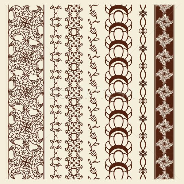 Decoratie communie patronen indian henna grens Stockfoto © frescomovie
