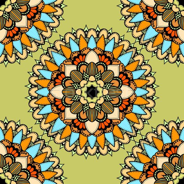 ストックフォト: シームレス · ベクトル · カラフル · パターン · 飾り · 金