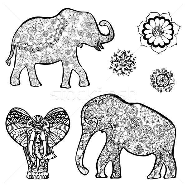 Stockfoto: Vector · tekening · olifant · etnische · patronen · Indië