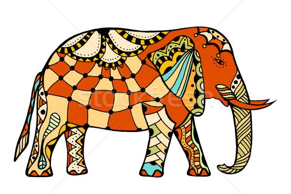 Foto stock: Decorado · indiano · elefante · vetor · cor · tatuagem