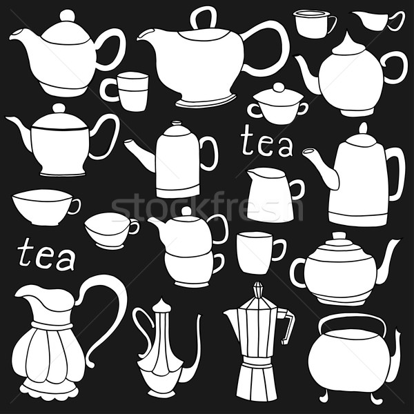 Stock fotó: Tea · kávé · tárgyak · kézzel · rajzolt · tinta · izolált