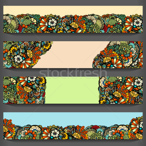 Flower pattern cards set Stock photo © frescomovie