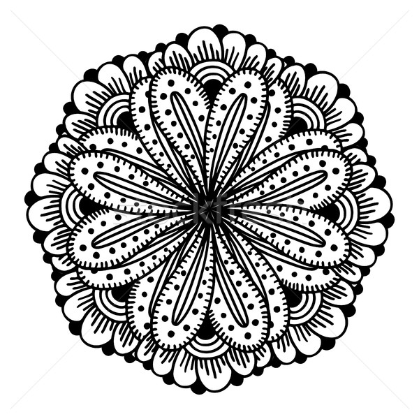Círculo flor ornamento blanco negro encaje Foto stock © frescomovie