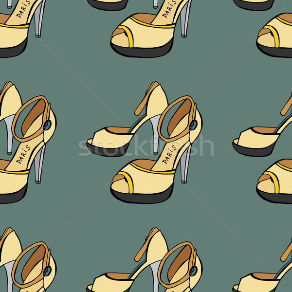 Sapatos sem costura esboço mulheres fundo beleza Foto stock © frescomovie