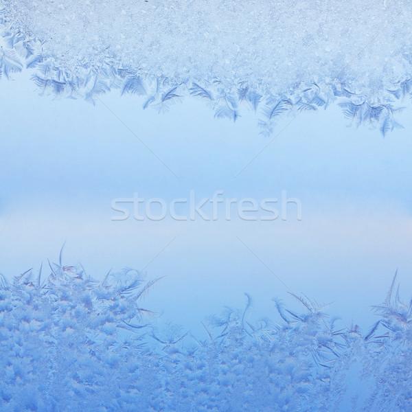 Fagyos minta tél ablak gyönyörű makró Stock fotó © frescomovie