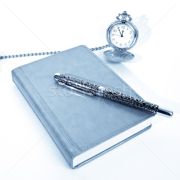 Notebook pen zakhorloge geïsoleerd witte school Stockfoto © frescomovie
