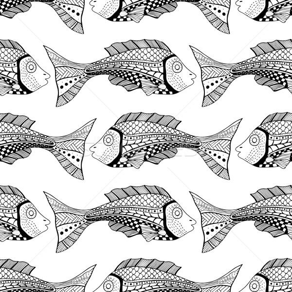 Zdjęcia stock: Bezszwowy · ryb · obraz · papieru · tekstury · charakter