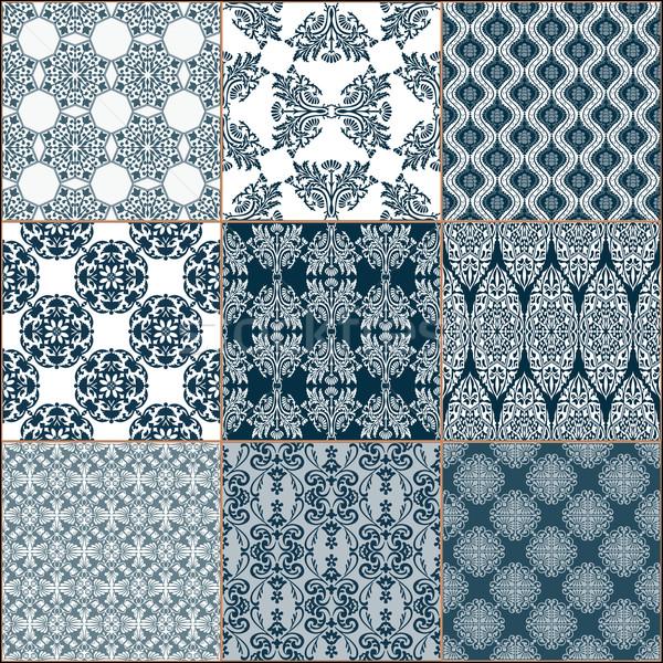 Fayans zemin süs toplama mavi Stok fotoğraf © frescomovie