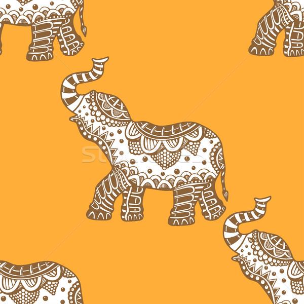 pattern with indian elephants. Stock photo © frescomovie