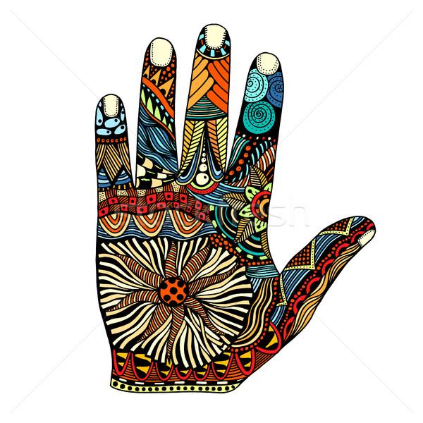 palm hand drawn zentangle Stock photo © frescomovie