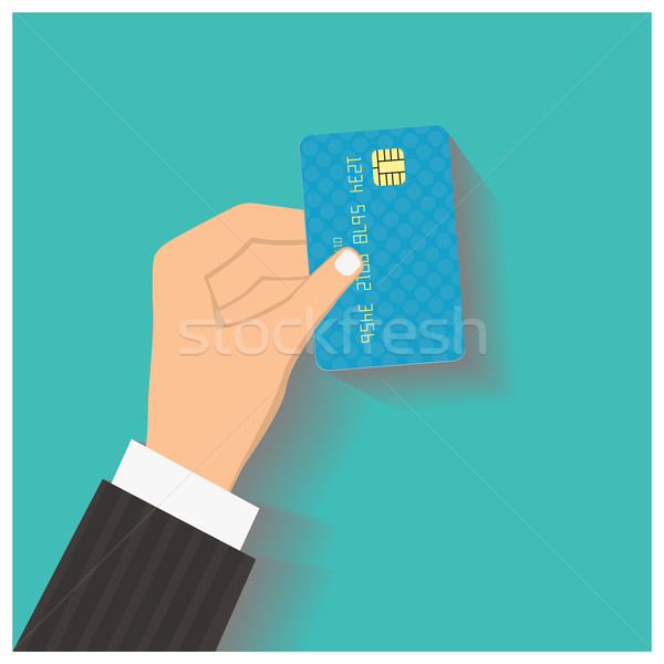 Flat design style illustration. Hand hold credit card to pay. Ve Stock photo © frescomovie