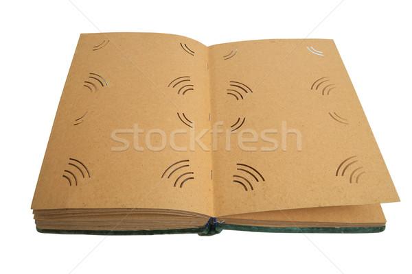 Fényképalbum kinyitott üres izolált fehér könyv Stock fotó © frescomovie