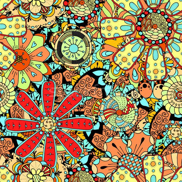 Sem costura rabisco flor flor do vetor flores Foto stock © frescomovie