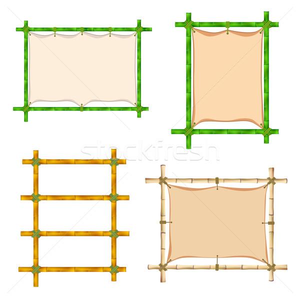 Conjunto bambu quadro ilustração isolado branco Foto stock © frescomovie