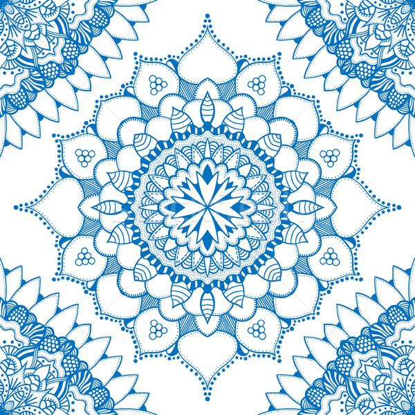 Stockfoto: Naadloos · patroon · ornamenten · Blauw