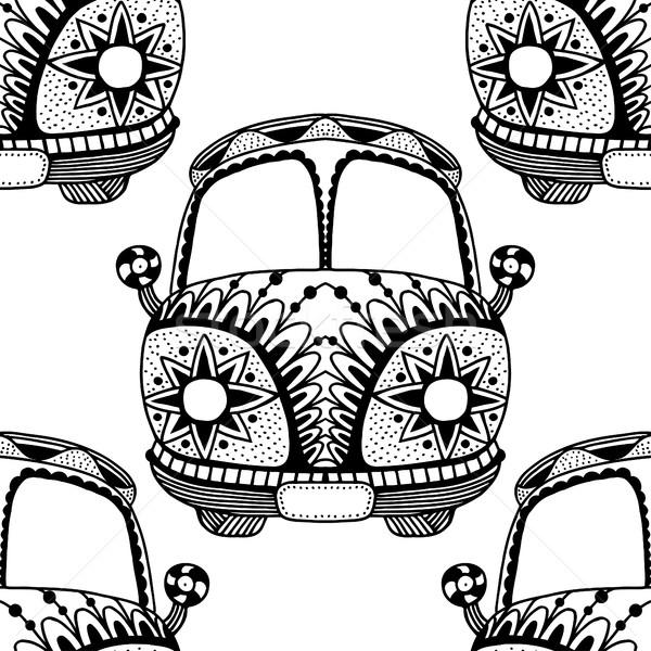 Végtelen minta régi autó mini furgon stílus kézzel rajzolt Stock fotó © frescomovie