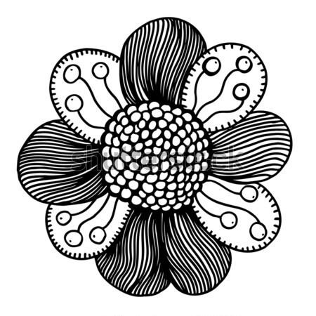Dibujado a mano garabato flor aislado blanco resumen Foto stock © frescomovie