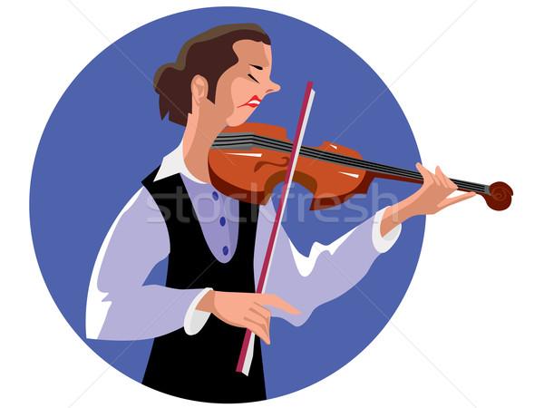 Hegedűművész nő gyönyörű lány játszik hegedű hangszer Stock fotó © frescomovie