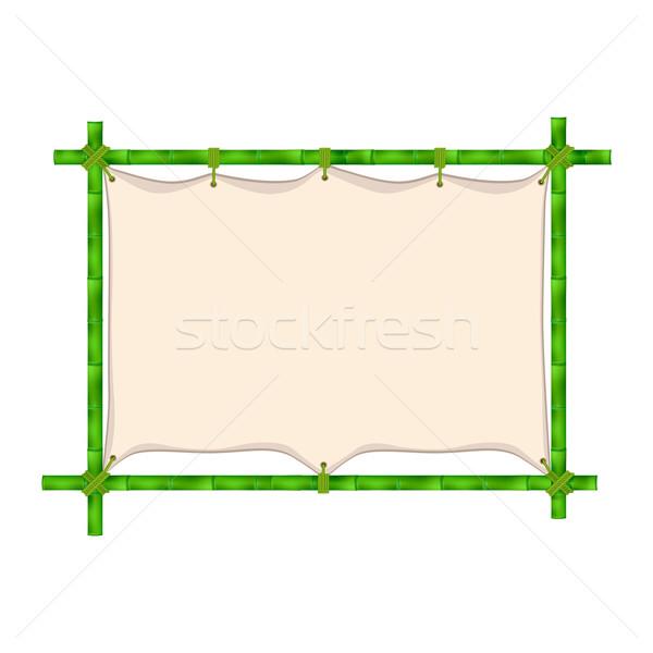 ストックフォト: 竹 · フレーム · 孤立した · 白 · 木材 · 背景