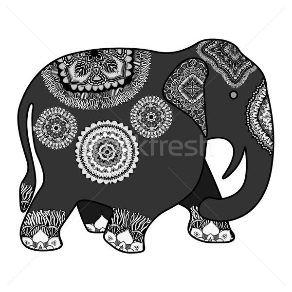 Foto stock: Indiano · elefante · rabisco · tribal · ornamento