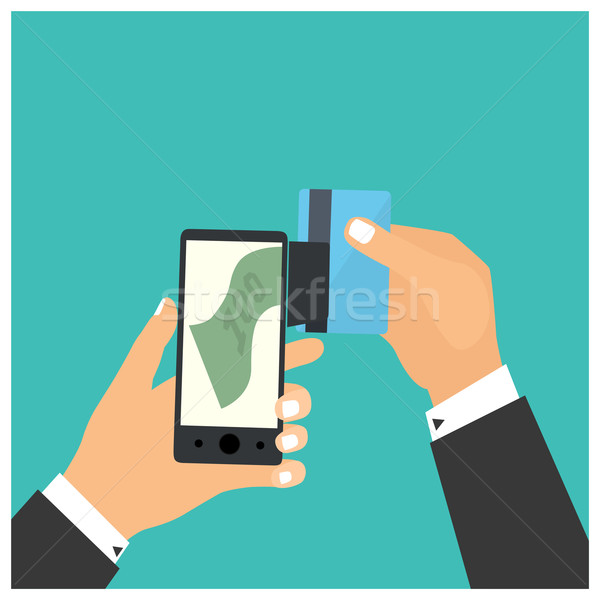 Flat design style vector illustration. Smartphone with processin Stock photo © frescomovie