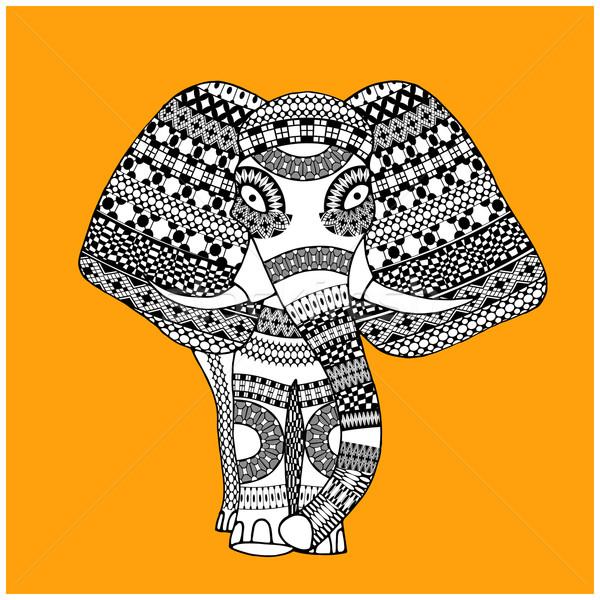 Klasszikus indiai elefánt vektor illusztráció izolált Stock fotó © frescomovie