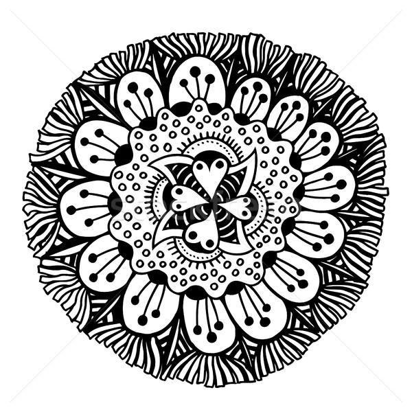 Círculo verano garabato flor ornamento rastrear Foto stock © frescomovie