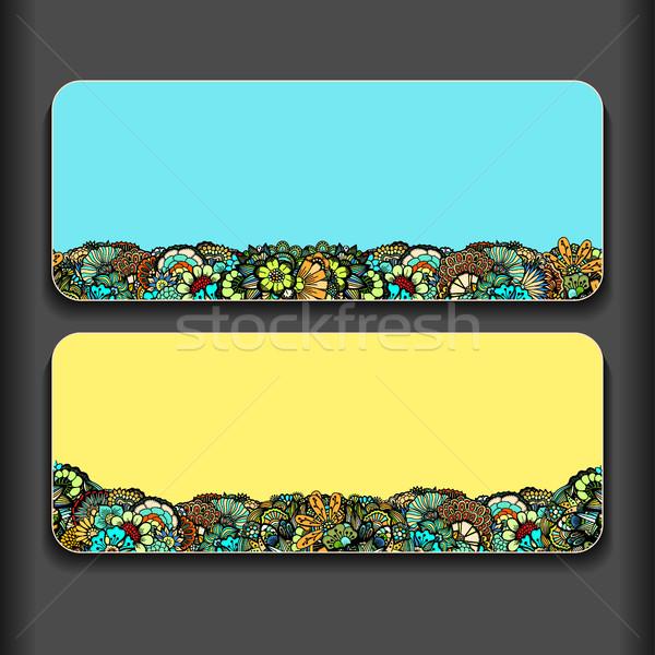 Szett kreatív gyengéd kártyák kézzel rajzolt textúrák Stock fotó © frescomovie
