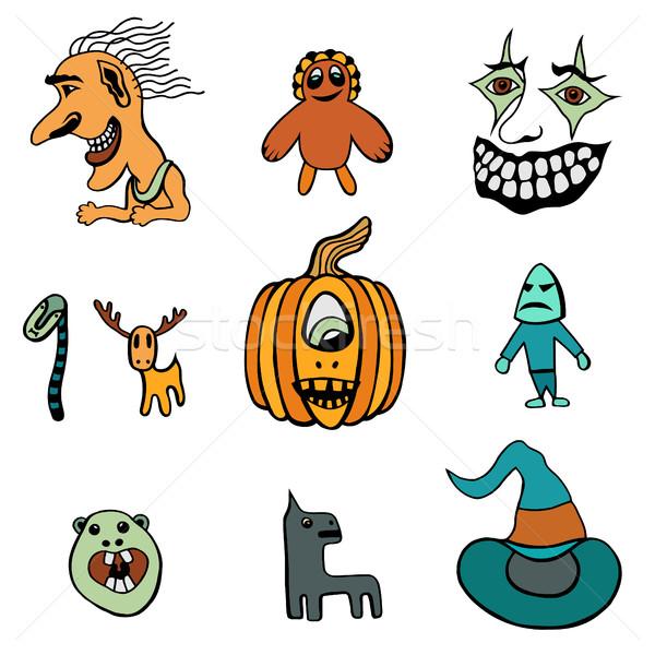 Ingesteld halloween monsters hoeden hoed clown Stockfoto © frescomovie