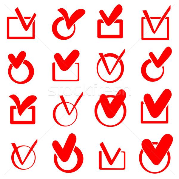Verificar caixa conjunto vermelho vetor ícones Foto stock © frescomovie