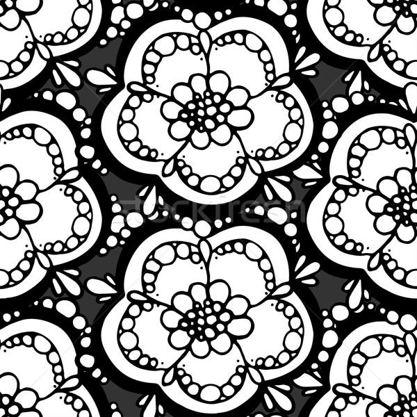 Kwiatowy wzór bezszwowy monochromatyczny tekstury Zdjęcia stock © frescomovie