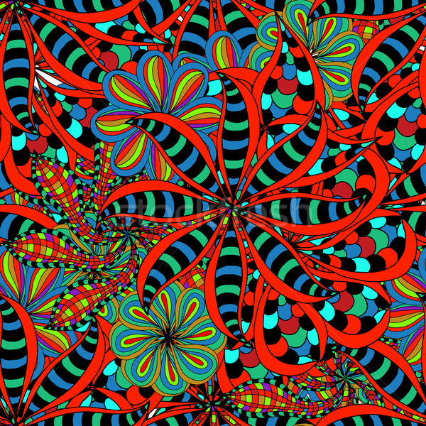 Stock fotó: Végtelenített · virágmintás · minta · kézzel · rajzolt · textúra · művészet