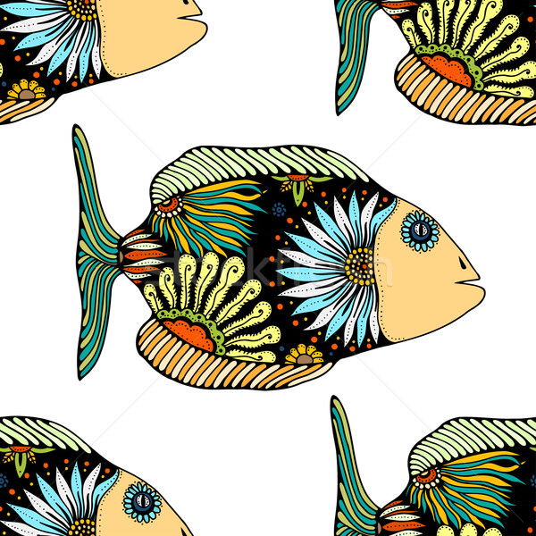 Stock photo: seamless pattern with fish
