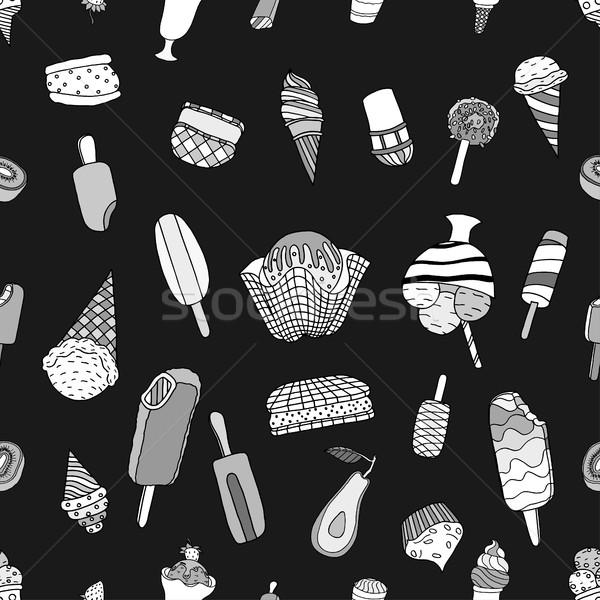 Végtelenített fagylalt minta kézzel rajzolt monokróm textúra Stock fotó © frescomovie