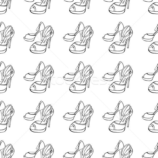 Schuhe Skizze Frauen Hintergrund Schönheit Stock foto © frescomovie