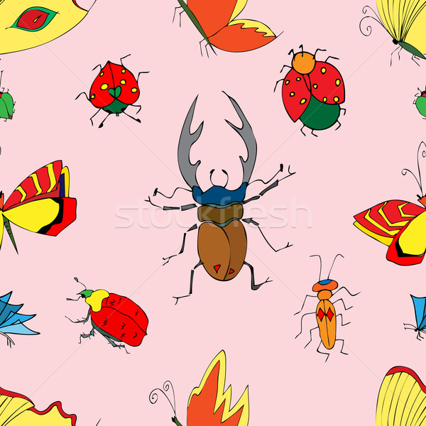 Insectes papillons illustration doodle Photo stock © frescomovie