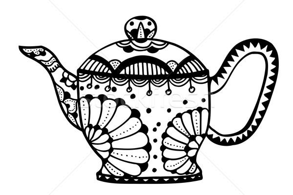 ティーポット 孤立した ベクトル 手描き 芸術 花 ストックフォト © frescomovie