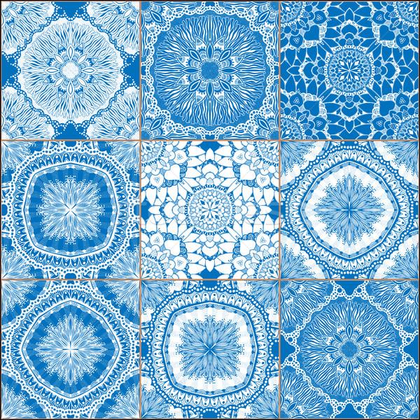 set of classical blue ceramic tiles Stock photo © frescomovie