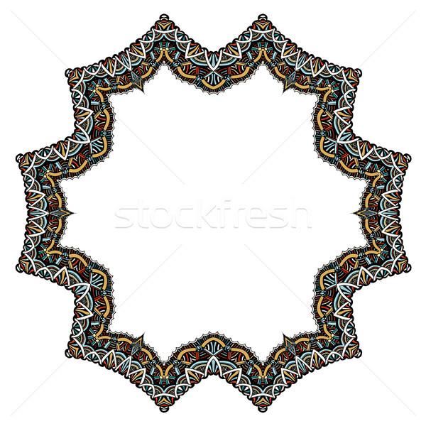 Stock foto: Set · geometrischen · Rahmen · abstrakten · Design · Hand · gezeichnet