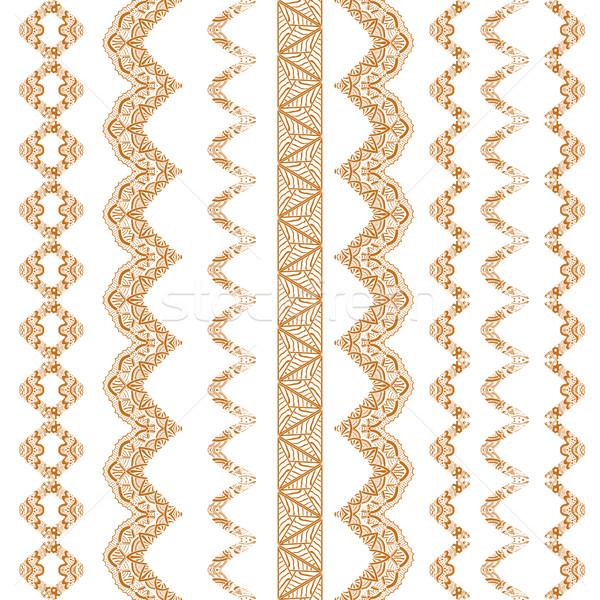 Collection of hand drawn line borders Stock photo © frescomovie