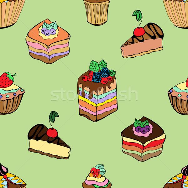 Stok fotoğraf: Kekler · tatlılar · ayarlamak · farklı