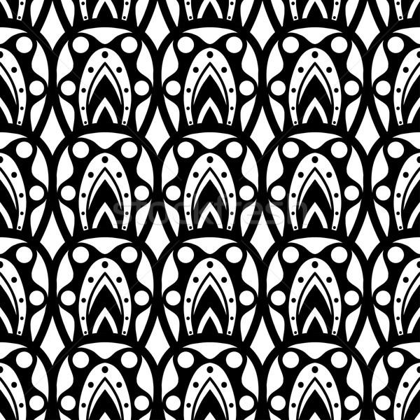 геометрическим рисунком бесшовный черно белые аннотация дизайна ткань Сток-фото © frescomovie