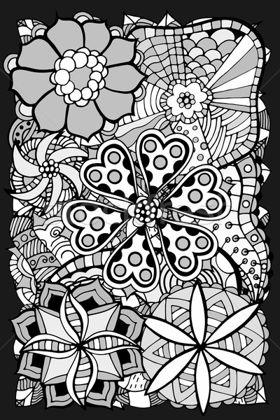 doodle flowers and leafs Stock photo © frescomovie
