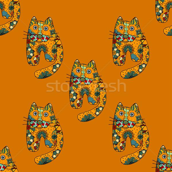 Сток-фото: смешные · кошек · рисованной · вектора