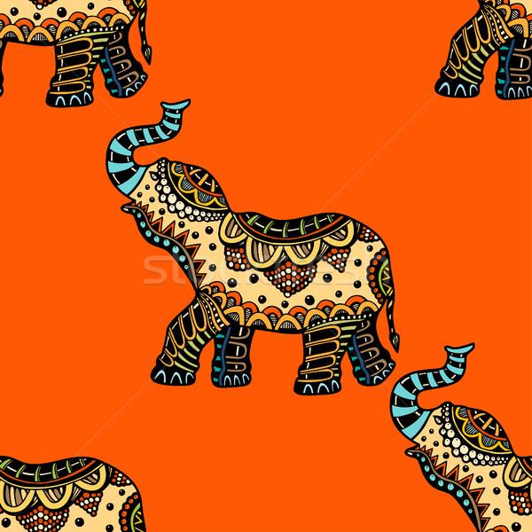 Kézzel rajzolt kisebbségi elefánt végtelen minta terv művészet Stock fotó © frescomovie